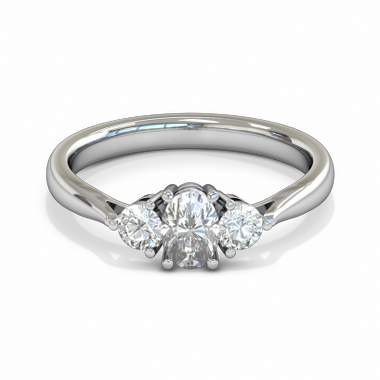 Oval Diamond Trinity Fairtrade Gold Engagement Ring in 18K White Gold