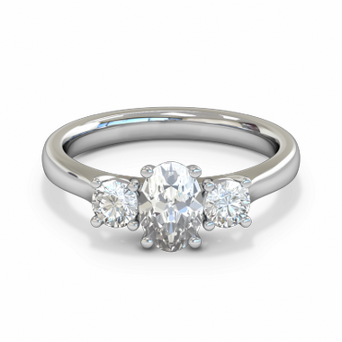 Trilogy Oval Cut Diamond Engagement Ring in 18K White Gold