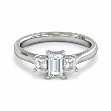 Fairtrade Gold Princess Cut Diamond Trinity Engagement Ring in 18K White Gold
