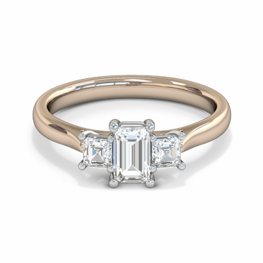 Fairtrade Gold Princess Cut Diamond Trinity Engagement Ring in 18K Rose Gold