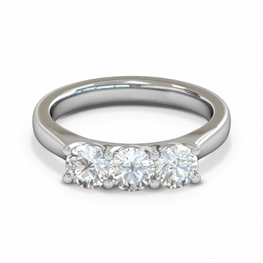 Trilogy Tapered Diamond Fairtrade Gold Engagement Ring in 18K White Gold