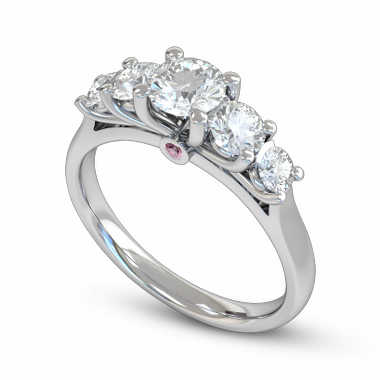 Five Graces Diamond Fairtrade Gold Engagement Ring in 18K White Gold
