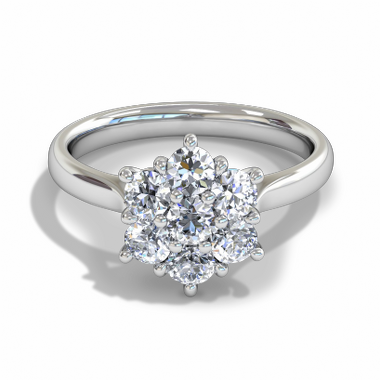 Starlight Halo Diamond Fairtrade Gold Engagement Ring in 18K White Gold