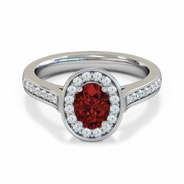 Vintage Ruby and Diamond Fairtrade Gold Engagement Ring in 18K White Gold