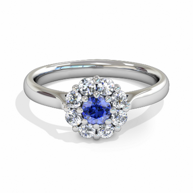 Blue Blossom Halo Sapphire Fairtrade Gold Engagement Ring in 18K White Gold