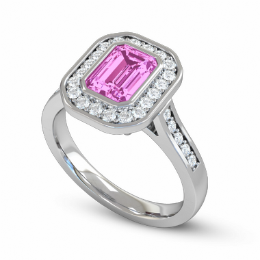 Fairtrade Gold Pink Sapphire and Diamond Vintage Engagement Ring in 18K White Fairtrade Gold