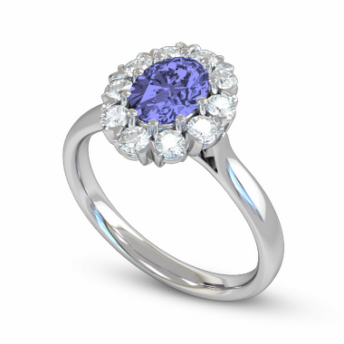 Blue Sapphire and Diamond Fairtrade Gold Engagement Ring in 18K White Gold