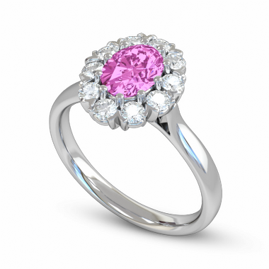 Pink Sapphire and Diamond Halo Fairtrade Gold Engagement Ring in 18K White Fairtrade Gold