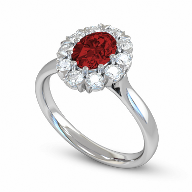 Ruby and Diamond Fairtrade Gold Engagement Ring in 18K White Fairtrade Gold