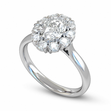 Eleven Diamond Cluster Fairtrade Gold Engagement Ring in 18K White Fairtrade Gold
