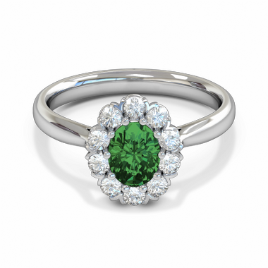 Emerald and Diamond Fairtrade Gold Engagement Ring in 18K White Fairtrade Gold