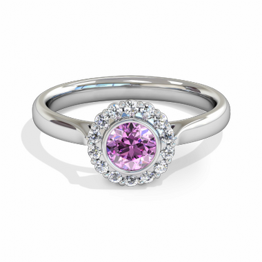 Pink Sapphire Halo Fairtrade Gold Engagement Ring in 18K White Gold