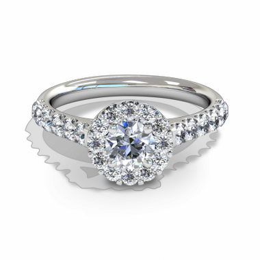 Starburst Diamond Halo Fairtrade Gold Engagement Ring in 18K White Gold