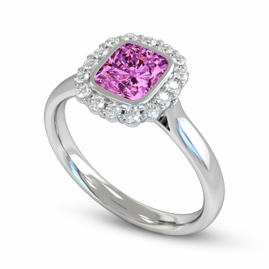 Pink Sapphire and Diamond Cluster Fairtrade Gold Engagement Ring in 18K White Fairtrade Gold