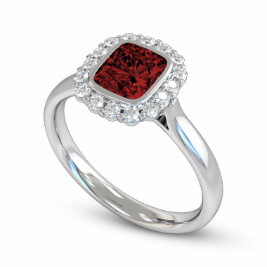 Ruby and Diamond Cluster Fairtrade Gold Engagement Ring in 18K White Fairtrade Gold
