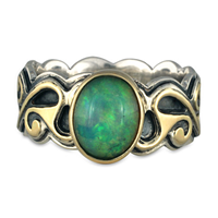 One of a Kind Bridget Opal Ring in 14K Yellow Design/Sterling Base