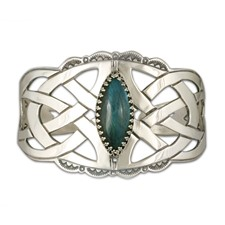 One of a Kind Celtic Cuff Bracelet with Labradorite in Sterling Silver