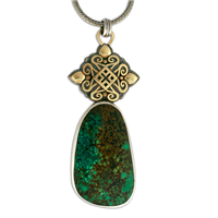One of a Kind Tibetan Natural Turquoise Taliesin Pendant in 14K Yellow Design/Sterling Base