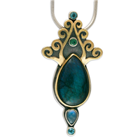 One of a Kind Peacock Pendant in Labradorite, Blue Topaz, Tourmaline & Moonstone