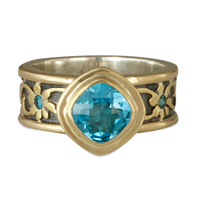One of a Kind Persephone Ring with Swiss Topaz and Blue Diamonds  in Swiss Blue Topaz