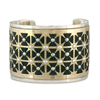One of a Kind Lisboa Cuff Bracelet in 14K Yellow Design/Sterling Base