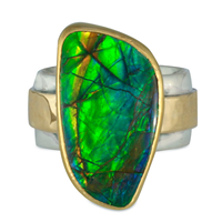 One of a Kind Ammonite Opal Wistra Ring in 14K and 24K Yellow Gold/Sterling