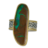 One of a Kind Boulder Opal Laura Ring in 14K and 24K Yellow Gold/Sterling