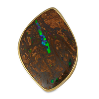 One of a Kind Boulder Opal Ring in 18K Yellow Gold Design w Sterling Silver Base