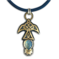 Flight Pendant with Blue Moonstone in 14K Yellow Design/Sterling Base