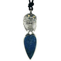 One of a Kind Owl with Azurite in Sterling Silver