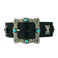 One of a Kind Concho Leather Bracelet in Sterling Silver