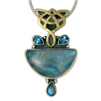 One of a Kind Kalisi Moonstone Pendant in 14K Yellow Gold Design w Sterling Silver Base