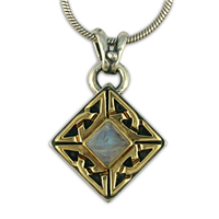 One of a Kind Celtic Corner Pendant in 14K Yellow Gold Design w Sterling Silver Base