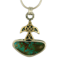 One of a Kind Swallow Turquoise Pendant in 14K Yellow Design/Sterling Base