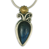 One of a Kind Labradorite Flower Pendant in 24K Yellow Gold & Sterling Silver