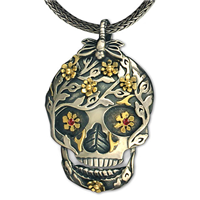 One of a Kind Flora Skull Pendant in 14K Yellow Design/Sterling Base