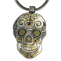 One of a Kind Timothy Skull Pendant in 14K Yellow Gold Design w Sterling Silver Base