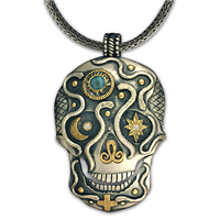 One of a Kind Oberon Skull Pendant in 14K Yellow Design/Sterling Base