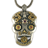 One of a Kind Catriona Skull Pendant in 14K Yellow Gold Design w Sterling Silver Base