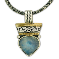 One of a Kind Flores Moonstone Pendant  in 14K Yellow Gold Design w Sterling Silver Base