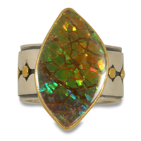 One of a Kind Ravena Ammolite Ring in 14K & 24K Yellow Gold & Sterling Silver