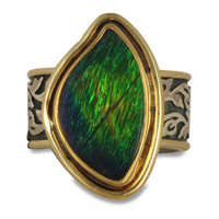 One of a Kind Ammolite Liana Ring in 18K & 24K Yellow Gold with Sterling Silver