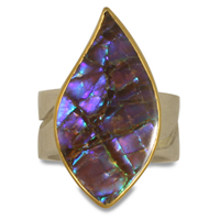 One of a Kind River Ring with Ammolite in 18K & 24K Yellow Gold with Sterling Silver