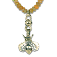 One of a Kind Bee Necklace with Ethiopian Opal Beads in 14K & 18K Yellow Gold w Sterling Silver