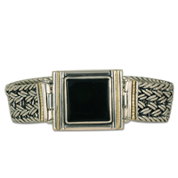 Celtic Corners Onyx Bracelet in 14K Yellow Gold Design w Sterling Silver Base