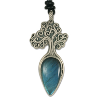 One of a Kind Tree of Life Large Pendant with Labradorite in Sterling Silver