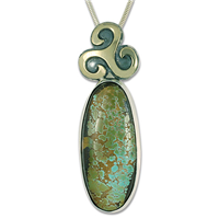 One of a Kind Royston Turquoise Pendant in 14K Yellow Gold Design w Sterling Silver Base