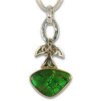 One of a Kind Ammolite Swallow Pendant in 14K Yellow Gold Design w Sterling Silver Base