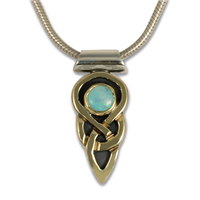 One of a Kind Ceres Pendant in 14K Yellow Gold Design w Sterling Silver Base