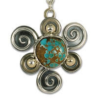 One of a Kind Swirl Pendant with Royston Natural Turquoise in 14K Yellow Gold Design w Sterling Silver Base